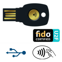 FIDO U2F Security Keys dongles for secure website login web authentication. USB and contactless